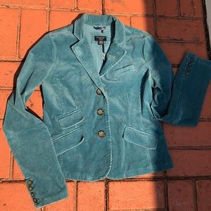 American Eagle Outfitter Turquoise Corduroy Blazer